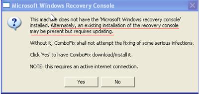 Combofix – Microsoft Windows Recovery Console