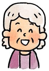 おばあさんの表情のイラスト(笑い)