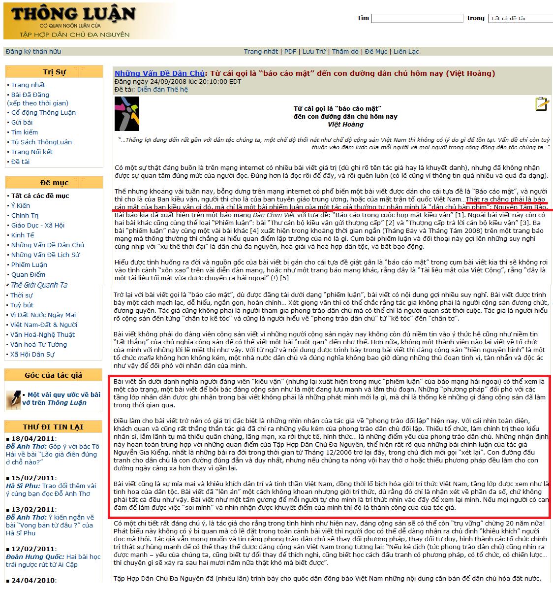 """Khôi hài về cái gọi là """"Tài liệu Mật của Việt Cộng Báo cáo trong cuộc họp mặt kiều vận"""""""