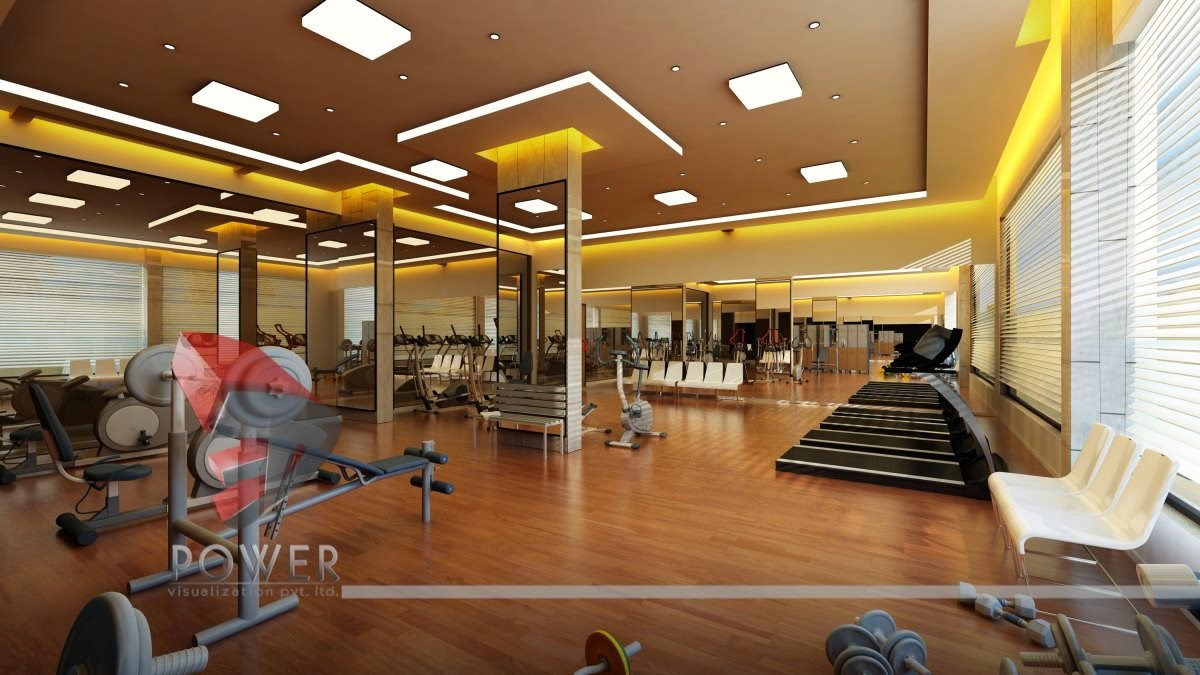 Gym Interior Of Ceiling & Floor