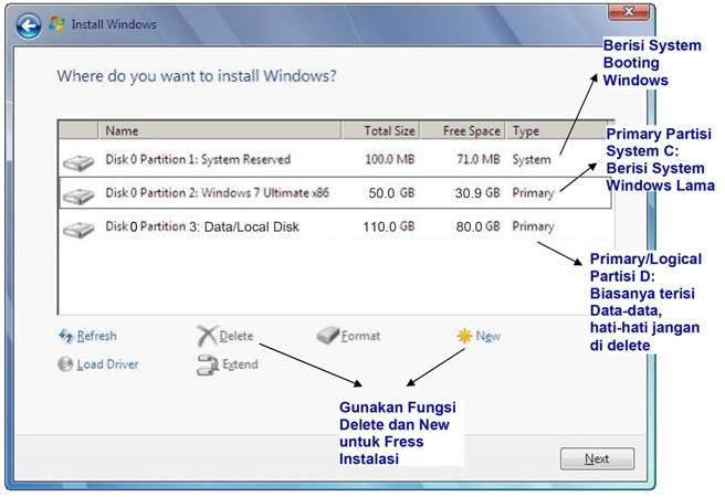 cara instal windows 7 pengaturan partisi