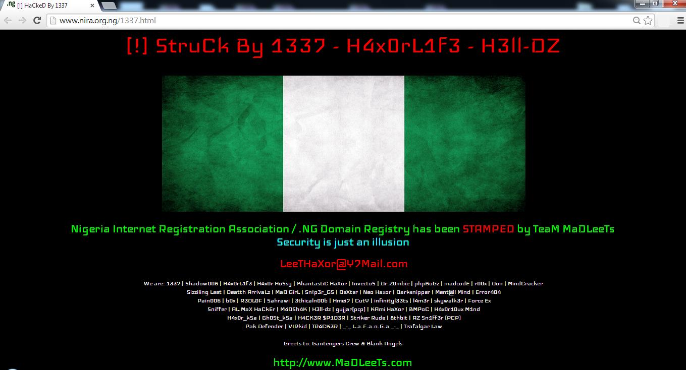 Nigeria Internet Registration Association Hacked by Leet