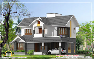 Modern Style Duplex House - 1740 Sq. Ft. | Indian House Plans