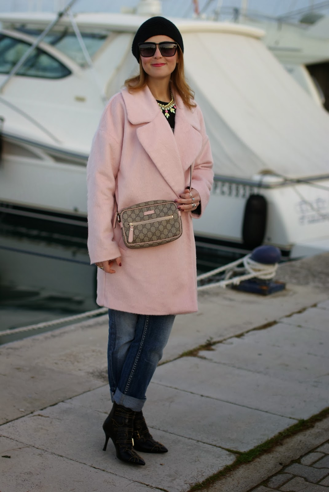 oversized pink coat, river island pink coat, owl sweater, fashion and cookies, fashion blogger
