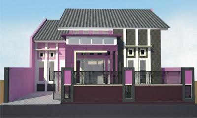 Model Rumah Minimalis Warna Ungu