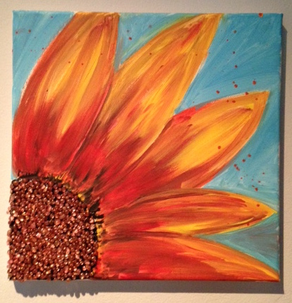 Here comes the Sunflower Mosaic on Canvas | Library Arts Easy Acrylic Flower Paintings On Canvas