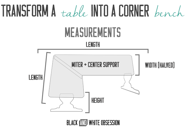 How to Convert a Table into a Corner Bench- Measurements | www.blackandwhiteobsession.com