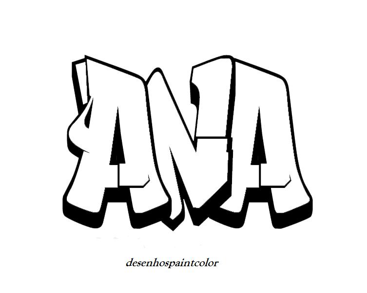 colorindo com a dry desenho de fonte de graffiti com nome ana para