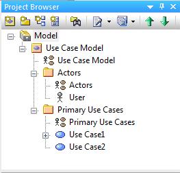 Zawartość okna Project Browser - przykładowy model