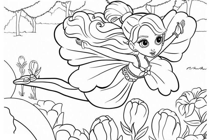 صورة بنت تطير بجناحين بين الزهور لتلوين الاطفال