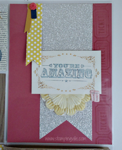 Silver Glimmer Paper with You're Amazing Stamp