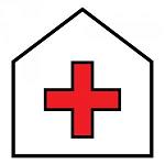simbolo di un edificio con croce rossa dentro
