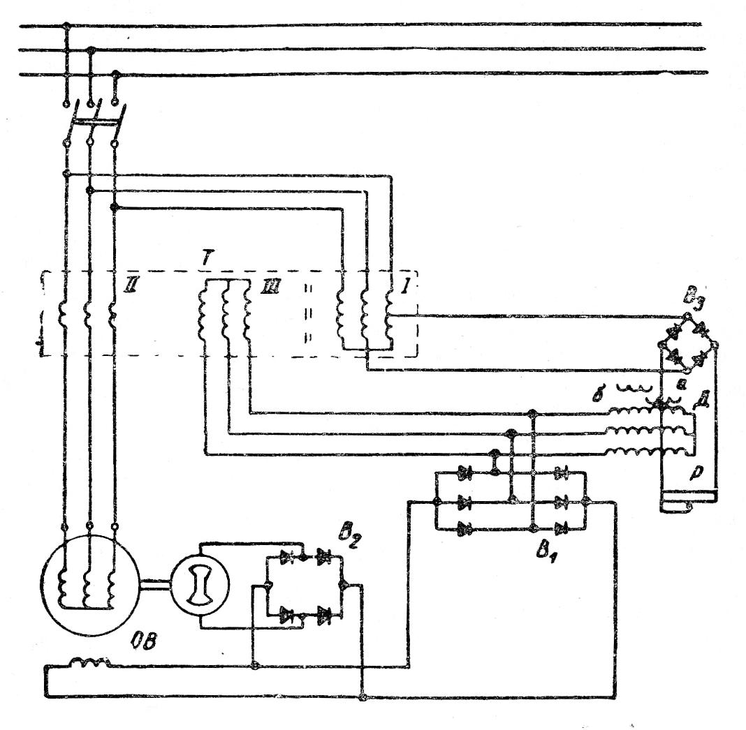Схема самовозбуждения и саморегулирования синхронных генераторов серии МСС