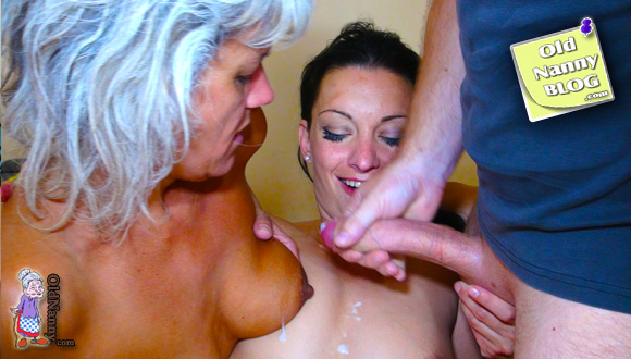 on tits her cum with granny