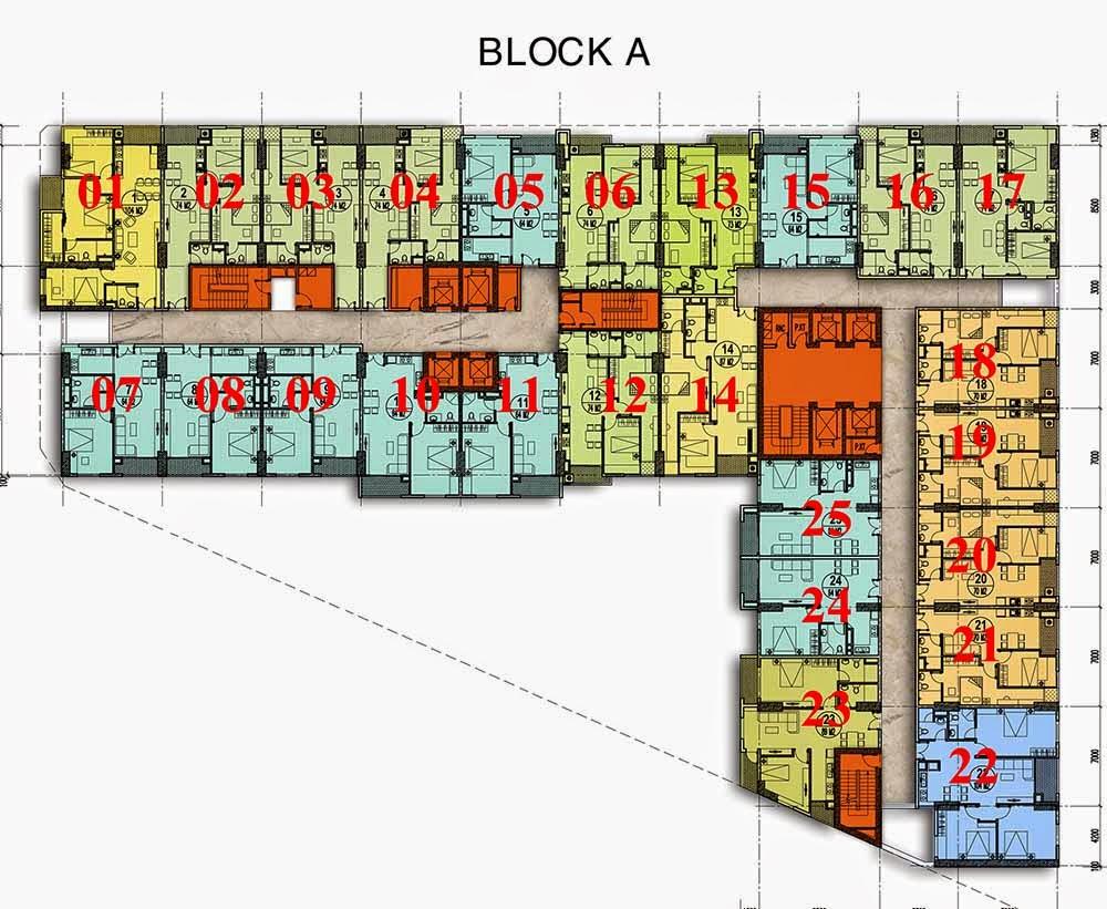 Mặt bằng tòa A chung cư gemek