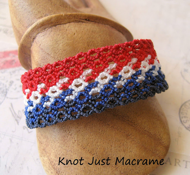 Patriotic knotted macrame bracelet in red white and blue
