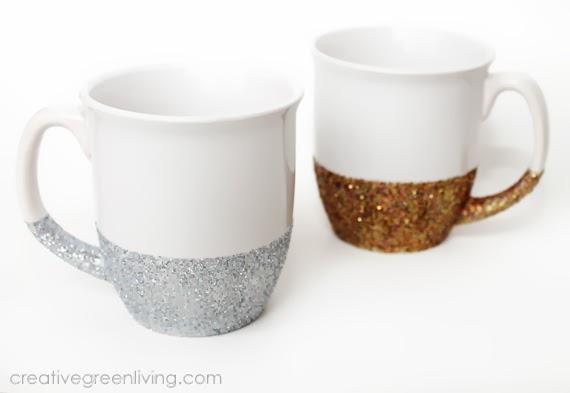 """How to Make Dishwasher Safe """"Glitter Dipped"""" MugsCreative Green"""
