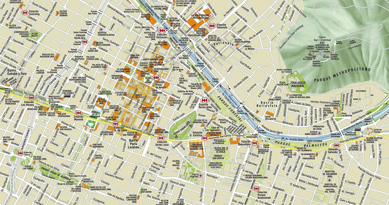 Chile lel agora em berlim mapa santiago for Calles de santiago de chile