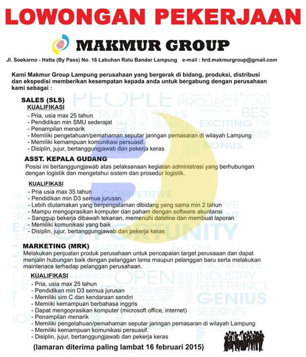 Karir Kerja Lampung di PT. Makmur Group 2015