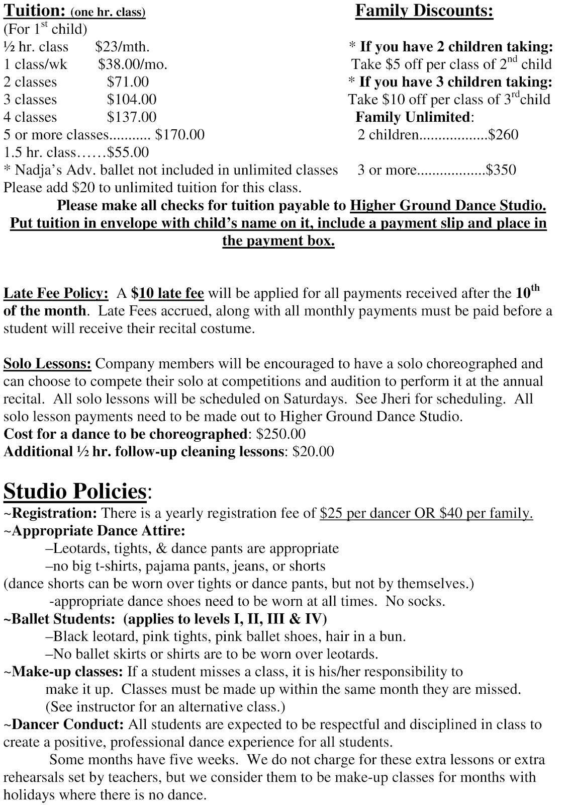 dance school registration form template free - higher ground dance studio registration form and dance