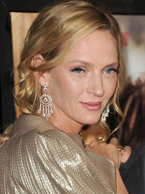 Uma Thurman Dangling Diamond Earrings