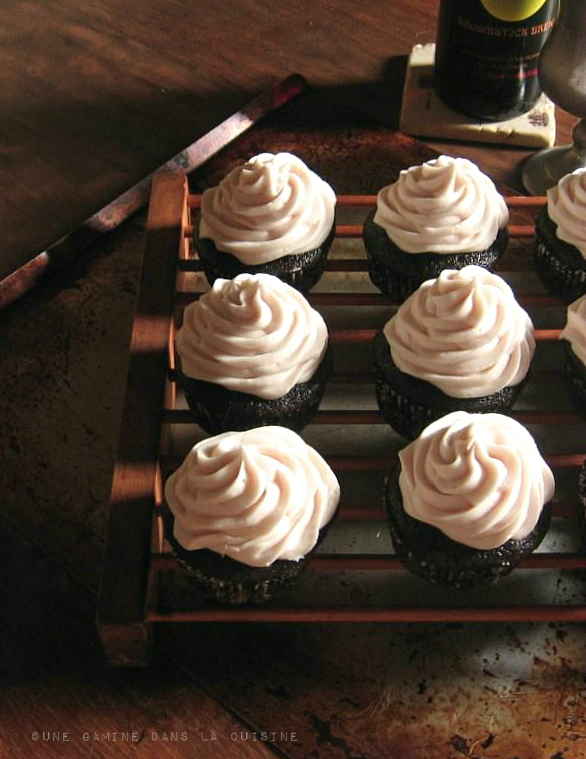 Guinness Chocolate Cupcakes with Spiced-Wine Cream Cheese Frosting