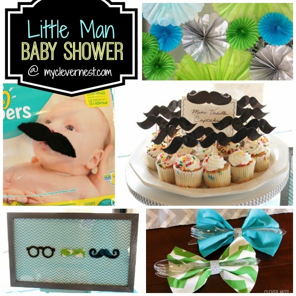 cute ideas for a mustache baby shower or first birthday for a boy #turquoisegraylime #littleman #hipsterbabyshower #glasses #bowtie #clevernest #bowtienapkins #babyshowergame