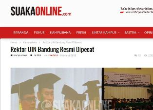 Suaka Online - Pemecatan Rektor UIN Bandung