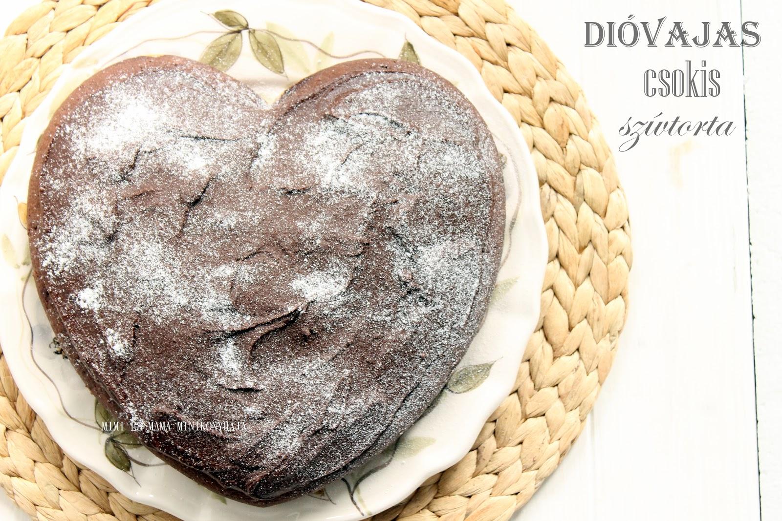 Dióvajas - diókrémes csokis szívtorta Valentin-napra