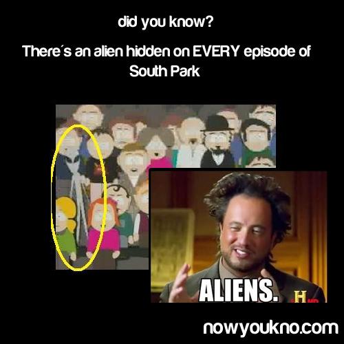 The Hidden Alien On Every Episode Of South Park - Fun Fact