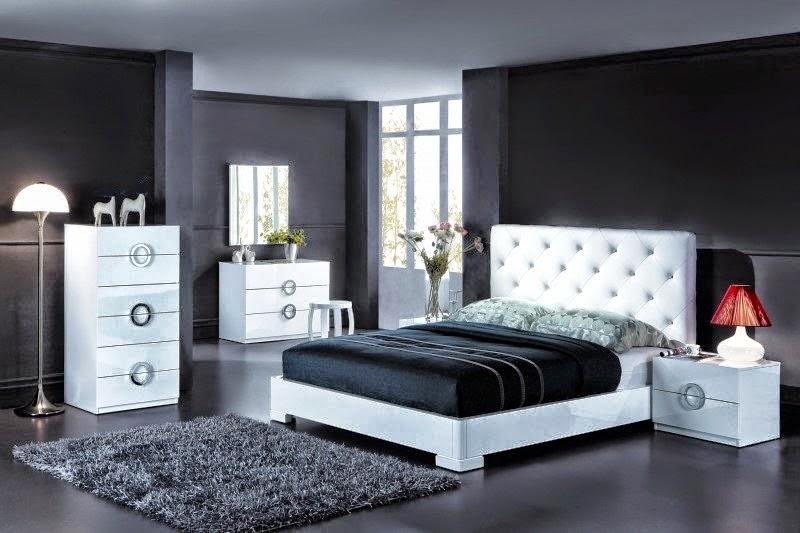 Dormitorios modernos en blanco y negro dormitorios - Dormitorio con muebles blancos ...