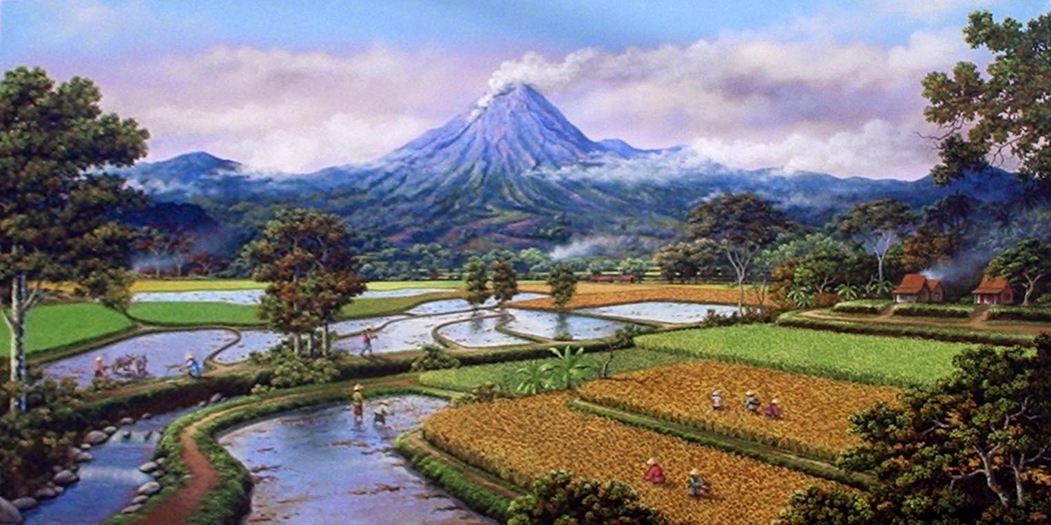 karikatur gunung merapi cantik