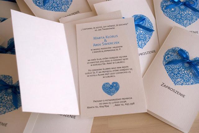 Zaproszenia ślubne z sercem