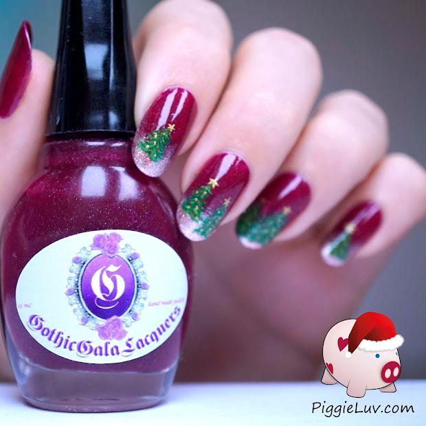 piggieluv christmas trees nail