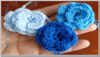 Flores de crochê feitas em formato de caracol