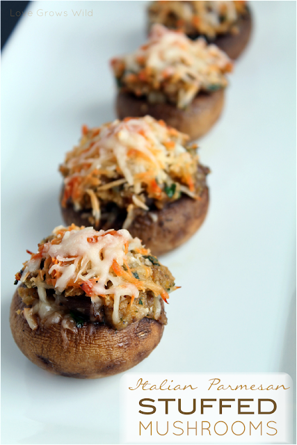 Italian Parmesan Stuffed Mushrooms with Kraft #FreshTake #CBias by www.LoveGrowsWild.com