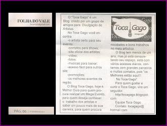 """DIVULGAÇÃO DO   """"Toca Gago"""" no Jornal FOLHA DO VALE"""