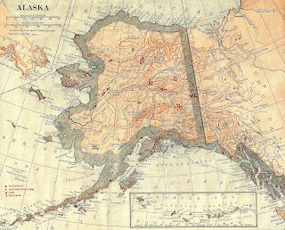 stock vintage map image alaska