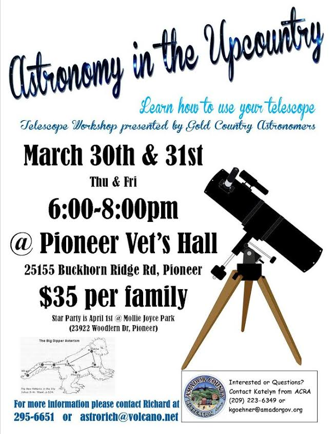 Astronomy in the Upcountry - Mar 30-31