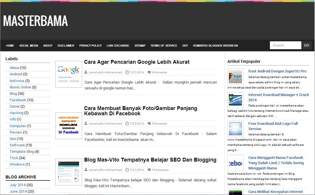 Blog Masterbama, Tutorial Blogging, SEO Dan Bisnis Online