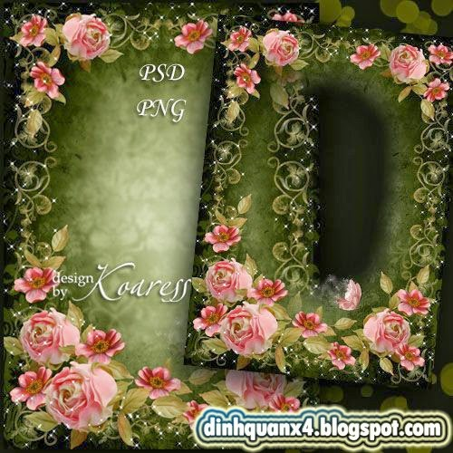 Romantic photo frame - Pink vintage flowers