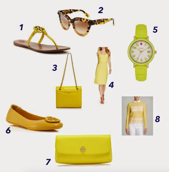 Tory Burch Reva, Tory Sweater, Tory Burch Yellow Clutch, Tory Burch Yellow Sandals