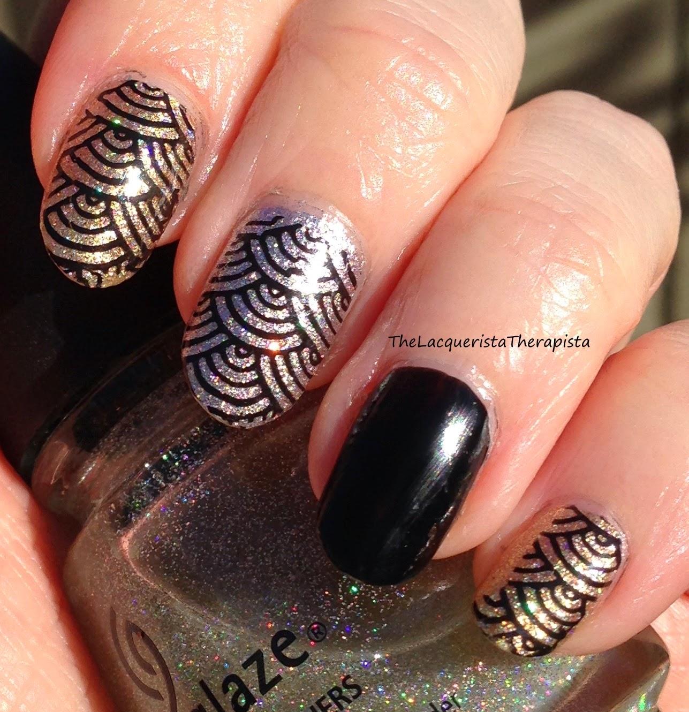 art deco; stamping; nail art; zoya; glitter; gold; silver; black; NYE; New Year