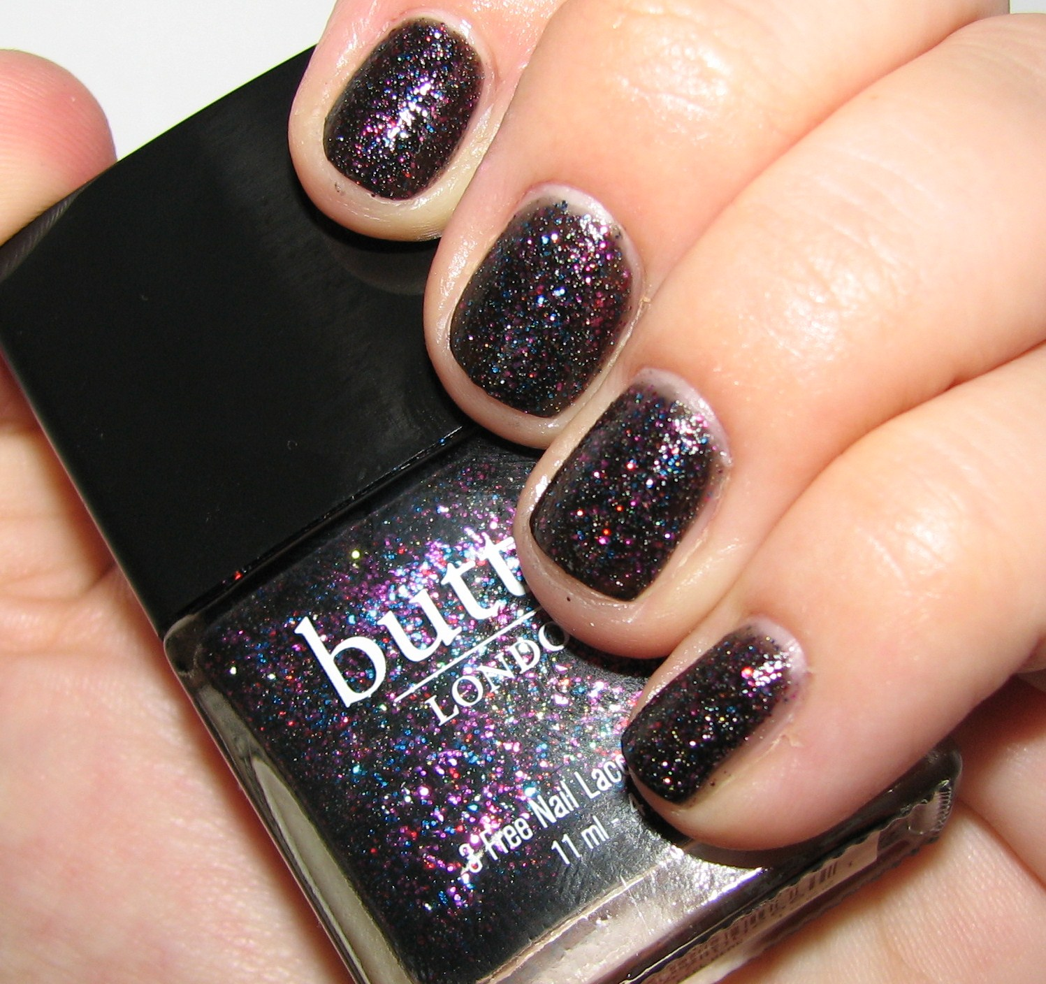 Black Nail Polish Swatch: Butter London THE BLACK KNIGHT Nail Polish Swatches And