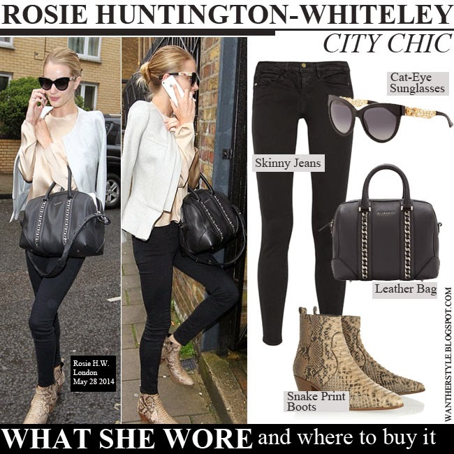 boots givenchy glasses 18l1  Rosie Huntington-Whiteley in snake print ankle boots Saint Laurent, black  skinny jeans Frame