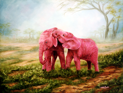 Pink Elephants - Oil on Canvas by: Laura Curtin