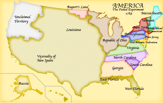 Making Alternate History America The Failed Experiment An AH - 1789 map of us