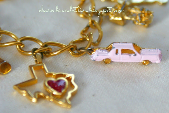 Chippy, shabby pink Cadillac charm and I love Texas charm