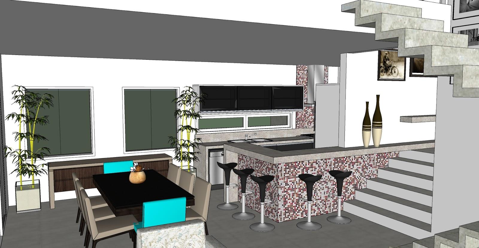 Vista da cozinha integrada com sala de Jantar no lugar das pastilhas  #00C8CB 1600 830