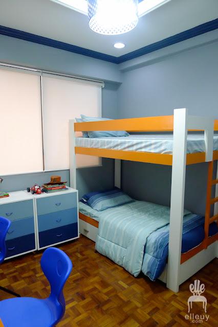 boys bedroom, blue and orange room